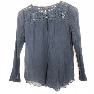 J.Crew Top Gauze Embroidered Navy Long Sleeve